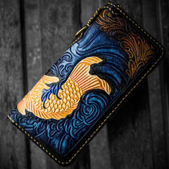 Handmade Leather Men Tooled Carp Cool Leather Biker Wallet Long Chain Wallets for Men