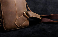 Handmade Leather Mens Cool Chest Bag Sling Bag Crossbody Bag Travel Bag Hiking Bag for men