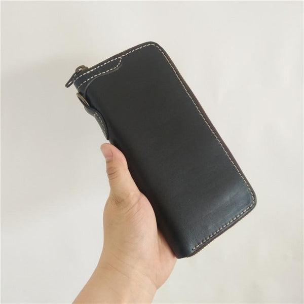 [On Sale] Handmade Mens Long Biker Wallets with Chains Cool Zipper Leather Biker Chain Wallet