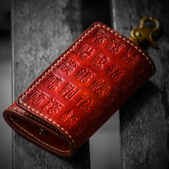 Handmade Leather Tooled Mens Cool Car Key Wallet Car Key Holders for Men