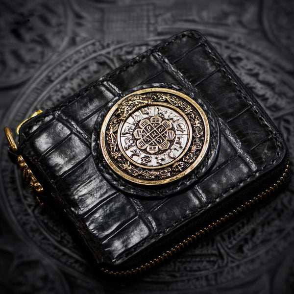 Handmade Leather Crocodile Skin Tooled Mens Short Wallet Cool Chain Wallet Biker Wallet for Men