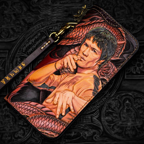 Handmade Leather Tooled Bruce Lee Black Mens Chain Biker Wallet Cool Leather Wallet Long Clutch Wallets for Men