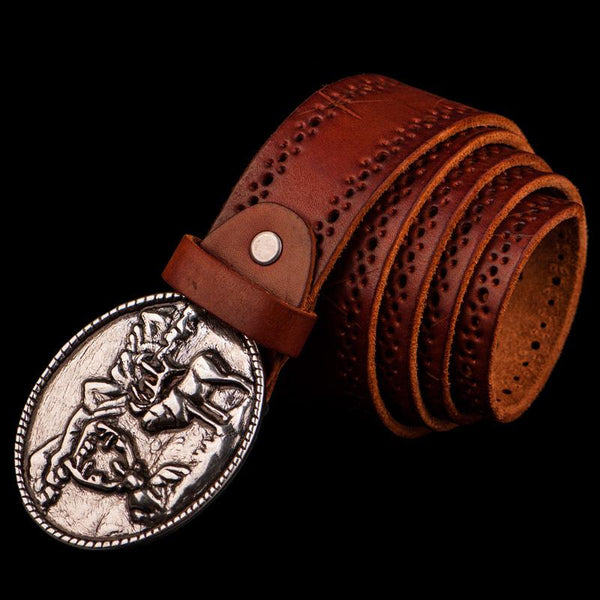 Handmade Cool Black Leather Mens Belt Leather Men Belts for Men