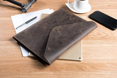 Handmade Leather Mens Clutch Cool Slim Wallet Envelope Clutch Wristlet Wallet for Men