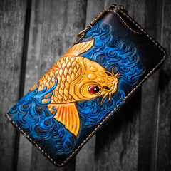 Handmade Leather Men Tooled Carp Cool Leather Chain Wallet Long Biker Wallets for Men