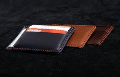 Genuine Leather Mens Cool Slim Front Pocket Wallet Leather Wallet Men Small Wallets  for Men