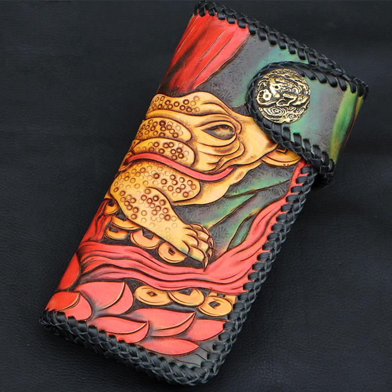 Handmade Mens Tooled Golden Toad Long Leather Chain Wallet Biker Trucker Wallet with Chain