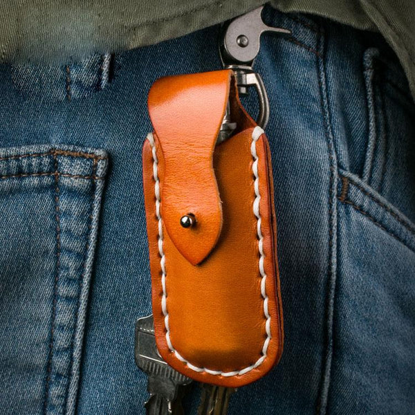 Handmade Leather Mens Cool Key Wallet Lighter Holder Pouch Key Holder for Men