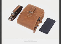 Genuine Leather Mens Waist Bag Hip Pack Belt Bag Fanny Pack Bumbag Chest Bag Sling Bag for Men