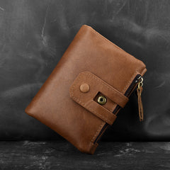 Genuine Leather Mens Zip Wallet Cool Short Slim Bifold Wallet Card Wallet Purse for Mens