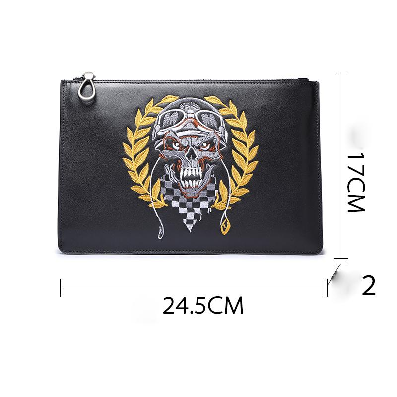Handmade Leather Mens Clutch Skull Cool Slim Wallet Zipper Clutch Wristlet Wallet for Men