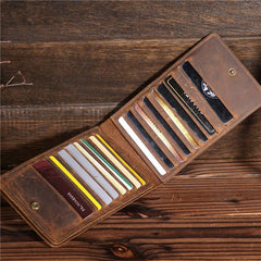 Cool Leather Mens Multi Card Long Wallet Zipper Long Card Wallet for Men