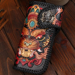 Handmade Leather Monster Mens Chain Tooled Biker Wallet Cool Leather Wallet Long Phone Wallets for Men