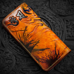 Handmade Leather Men Tooled Tibetan Pestle Cool Leather Wallet Long Phone Wallets for Men