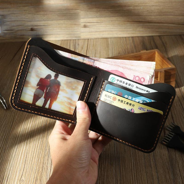 Handmade Slim Black Leather Mens Billfold Wallets Personalize Bifold Small Wallets for Men