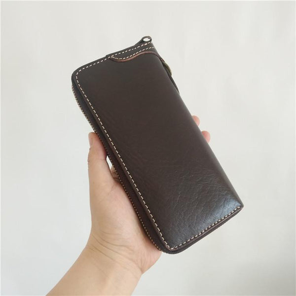 [On Sale] Handmade Mens Long Biker Wallets with Chain Cool Zipper Leather Biker Chain Wallets