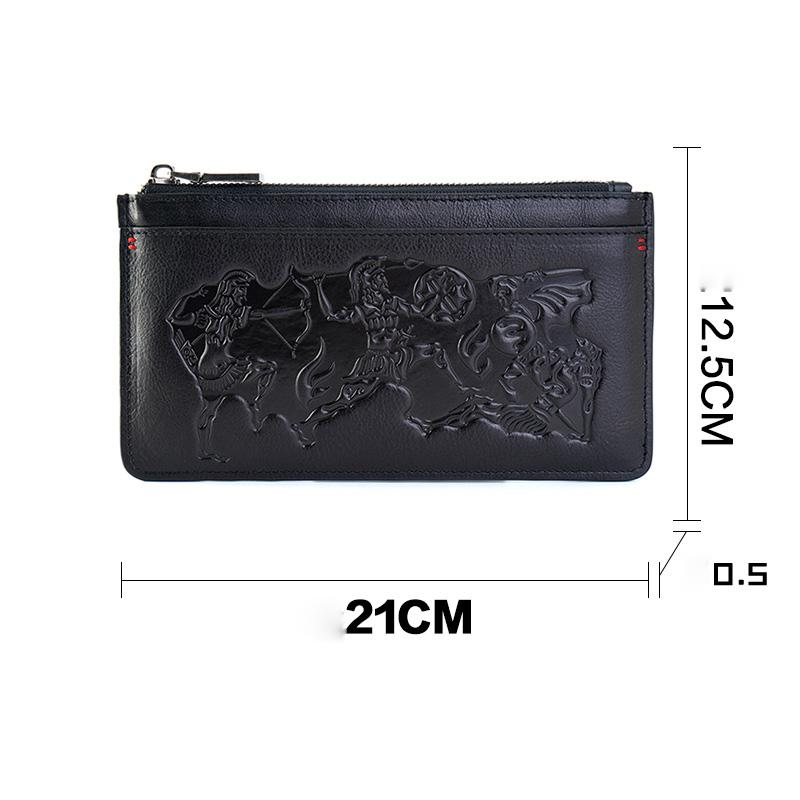 Handmade Leather Mens Urban Cohort Clutch Cool Slim Wallet Zipper Clutch Wristlet Wallet for Men