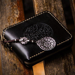 Handmade Leather Tibetan Tooled Mens Short Wallet Cool Chain Wallet Biker Wallet for Men