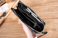 Handmade Leather Mens Clutch Wallet Cool Leather Wallet Long Zipper Phone Wallets for Men