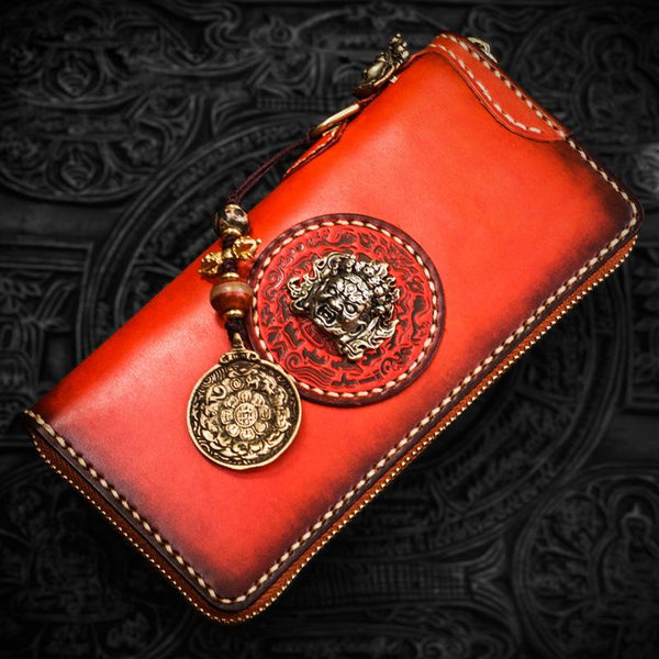 Handmade Leather Mahākāla Mens Chain Biker Wallet Cool Leather Wallet Long Clutch Wallets for Men