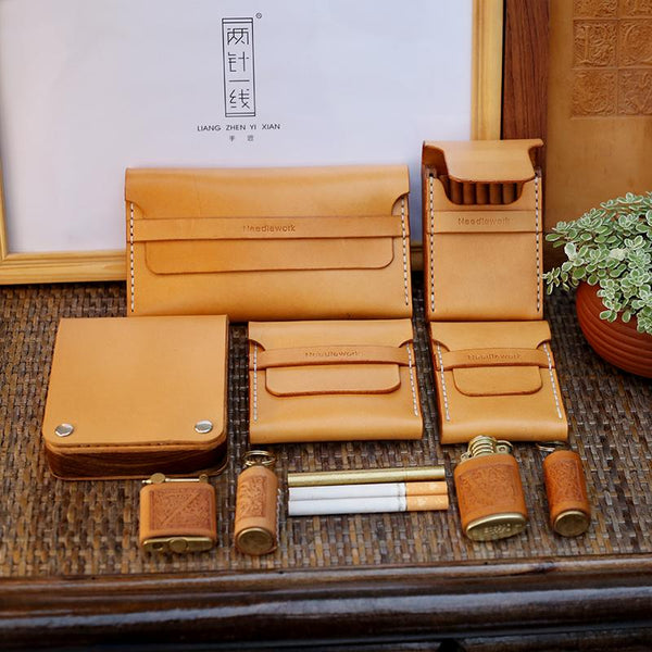 Cool Wooden Beige Leather Mens 20pcs Cigarette Case Custom Cigarette Holder Case for Men