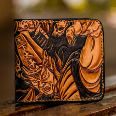 Handmade Leather Chinese Black&White Tooled Mens Short Wallet Cool Leather Wallet Small Wallet for Men