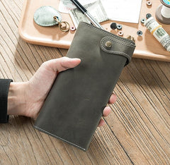 Handmade Leather Mens Slim Wallet Cool Leather Wallet Long Phone Wallets for Men