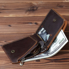 Cool Leather Mens Small Bifold Wallet billfold Leather Wallet Slim Wallet For Men