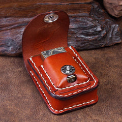 Cool Leather Mens Engraved Tiger Cigarette Holder Case lighter Holder for Men