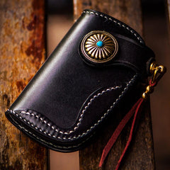 Handmade Leather Biker Mens Cool Car Key Wallets Coin Wallet Pouch Car KeyChain for Men