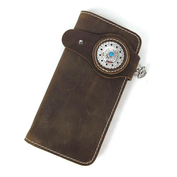 [On Sale]Handmade Mens Long Biker Wallets with Chain Cool Leather Biker Chain Wallet