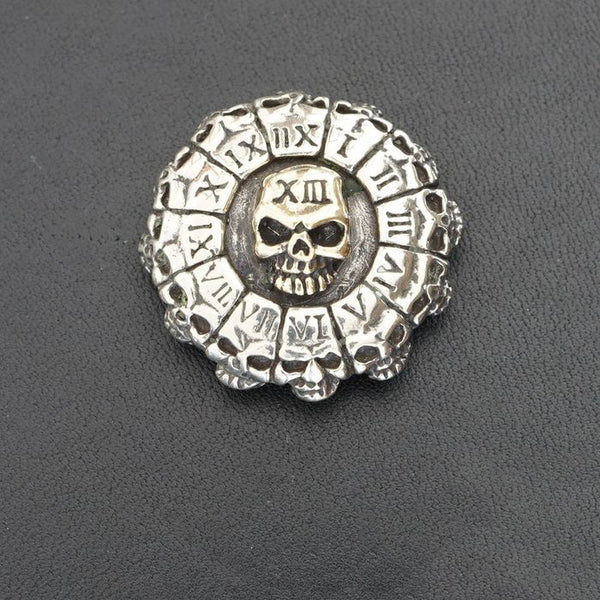 Wallet Conchos Skull Death Clock Conchos Button Skull Conchos Screw Back Decorate Concho Silver Skull Biker Wallet Concho Wallet Conchos