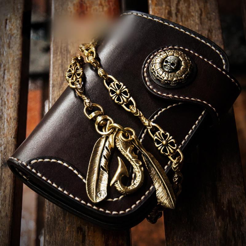 Handmade Leather Mens Small Chain Biker Wallet Cool Leather Wallet With billfold Chain Wallets for Men