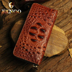 Handmade Leather Mens Cool Zipper Phone Travel Long Wallet Card Holder Card Slim Clutch Wallets for Men