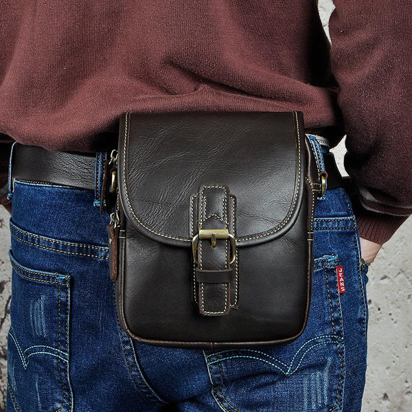 Cool Mens Leather Side Bag Belt Pouch Holster Belt Case Waist Pouch for Men
