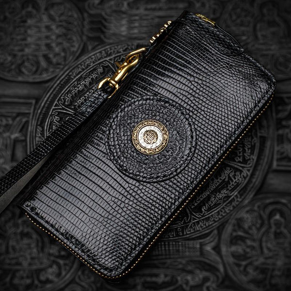 Handmade Leather Black LIZARD SKIN Chain Wallet Mens Biker Wallet Cool Leather Wallet Long Phone Wallets for Men