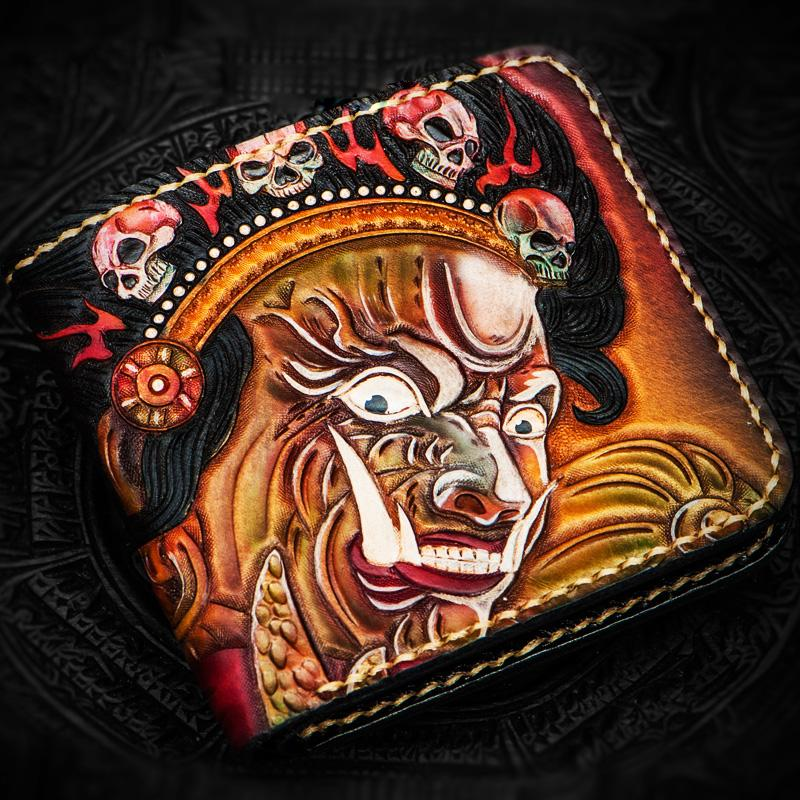 Handmade Leather Mahākāla Tooled Mens Short Wallet Cool Leather Wallet Slim Wallet for Men