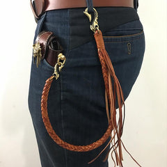 Handmade Leather Braided Wallet Chain Biker Wallet Chain Trucker Chain for Men