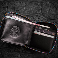 Handmade Leather Small Tooled Mens Short Wallets Cool Chain Wallet Biker Wallet for Men