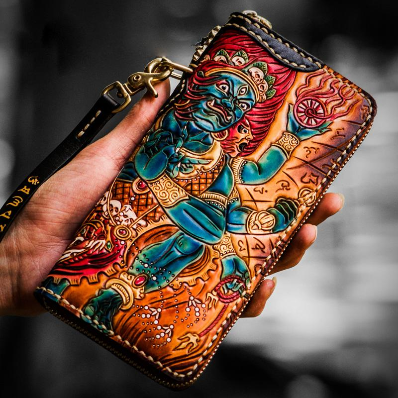 Handmade Leather Ucchusma Mens Tooled Long Biker Chain Wallet Cool Leather Wallet With Chain Wallets for Men