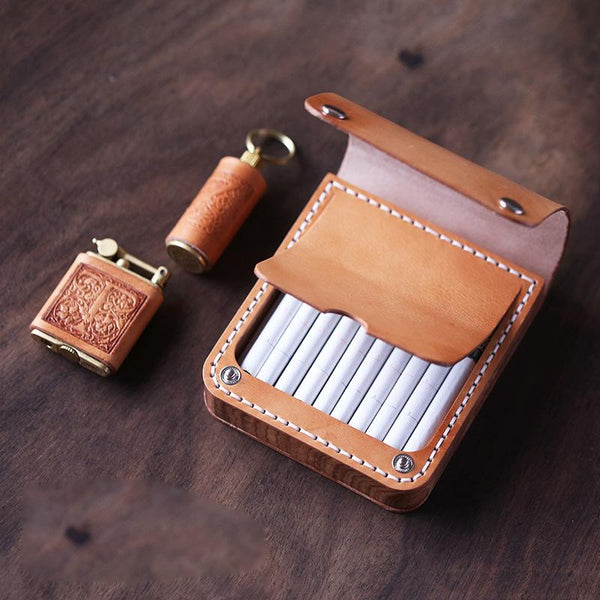 Handmade Wooden Leather Mens 20pcs Cigarette Case Cool Custom Cigarette Holder for Men