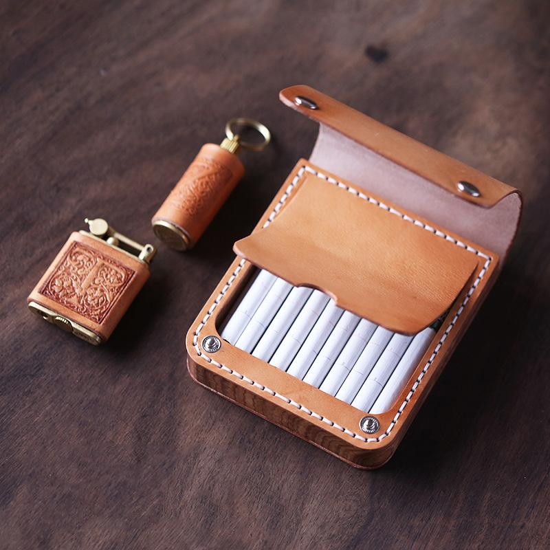 Handmade Wooden Coffee Leather Mens 10pcs Cigarette Case