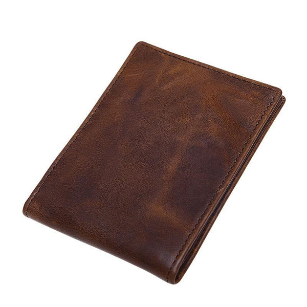 Vinatge Leather Small Mens License Wallet Bifold Card Wallet for Men
