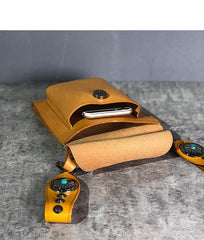Cool Tan LEATHER MEN'S Small Messenger Bag Waist BAG Belt pouch Green Belt Bag FOR MEN