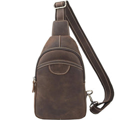 Black Leather Sling Backpack Mens Sling Pack Coffee Leather Sling Bag For Men
