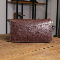 Vintage Brown Leather Mens Clutch Large Distressed Wallet Zipper Clutch Wristlet Wallet for Men