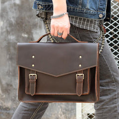 Vintage Brown Mens Leather Briefcase Work Handbag Black 14'' Computer Briefcases For Men