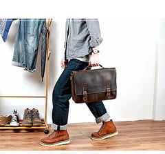 Vintage Black Mens Leather Briefcase Work Handbags Brown 14'' Computer Briefcases For Men