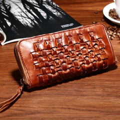 Vintage Braided Brown Leather Mens Long Wallet Zipper Clutch Wallet For Men