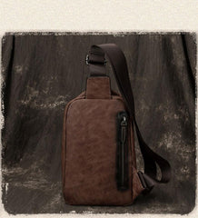 Vintage Brown LEATHER MENS One Shoulder Backpack Fashion Chest Bag Retro Brown Sling Bag For Men